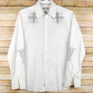 Archaic by Affliction Mens L White Cross Shirt